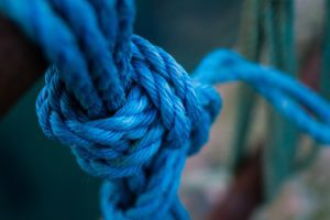 Blue Rope Tied on a Pier